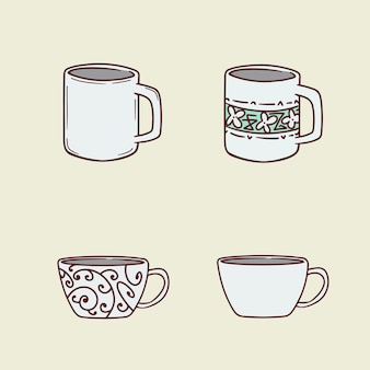 Set of cups hand drawing  illustration