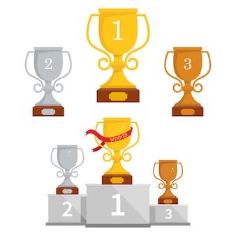 Set of cups on a pedestal.