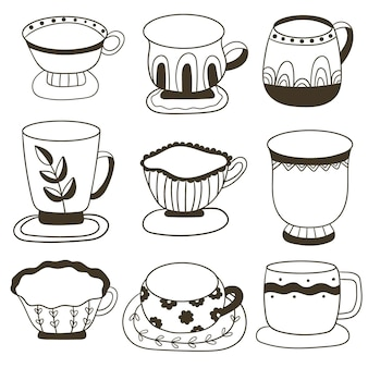 Set of cups with tea or coffee collection of  mugs filling by beverages cute crockery for drink