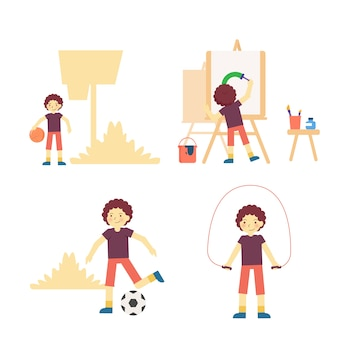 A set of curly boy character doing fun activity