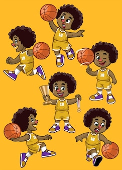 Set of curly haired black boy basketball player