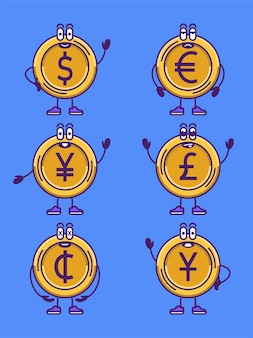 Set of currency coins in cartoon character icons of gold coins vector illustration