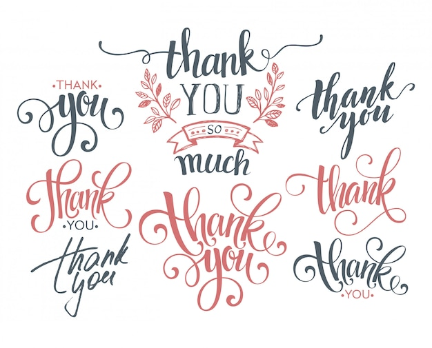 Set of custom thank you hand lettering.
