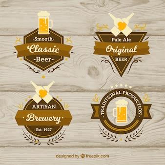 Set of customizable vintage beer labels
