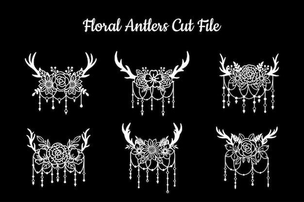 Set of cut file deer antlers decorations