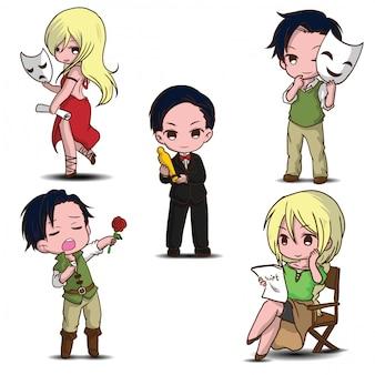 Set cute actor cartoon., job concept.