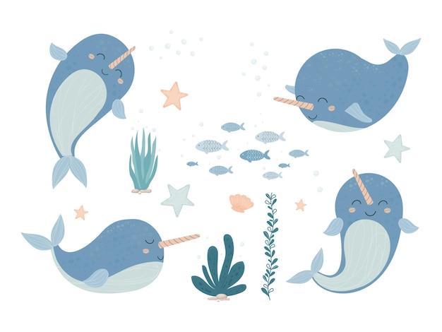 귀여운 사랑스러운 일각 고래, 뿔이 만화 스타일로 웃고있는 아기 동물을 설정하십시오.