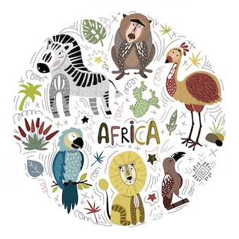 Set of cute african animals on white