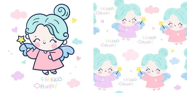 Set cute angel cartoon and fairy princess seamless pattern