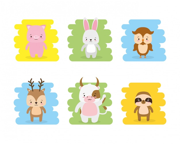 Set of cute animal cartoon and flat style, illustration