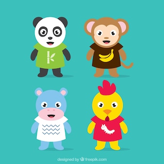 Set of cute animal characters
