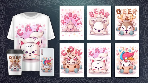 Set of cute animal drawing for poster and merchandising