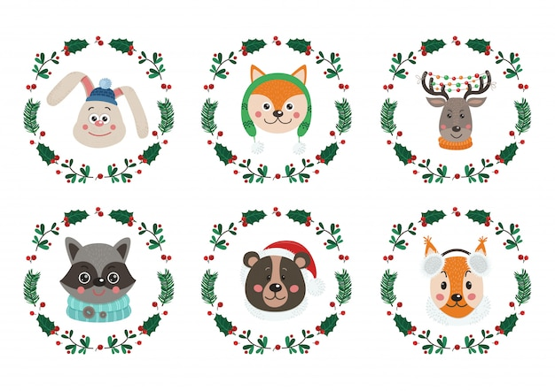 Set of cute animal faces for christmas