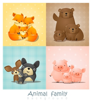 Set of cute animal family portrait