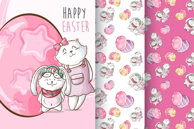 Set cute animal happy easter  pattern
