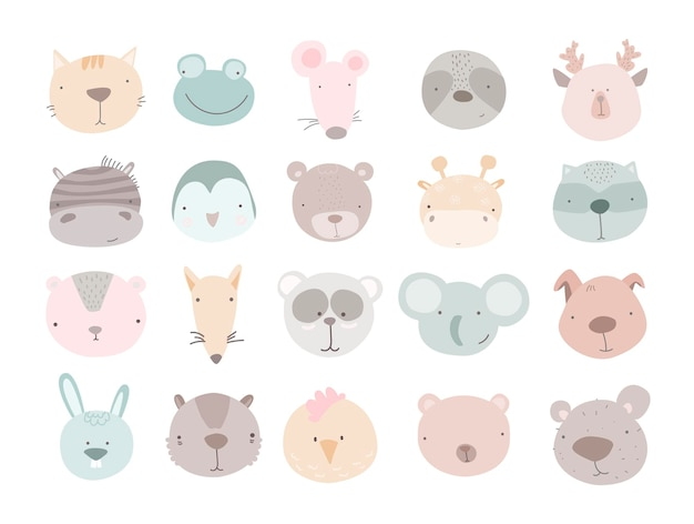 Set of cute animal heads cartoon zoo collection of cute animal characters