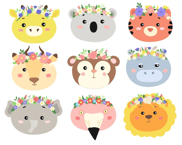 Set of cute animal heads with flower wreaths .