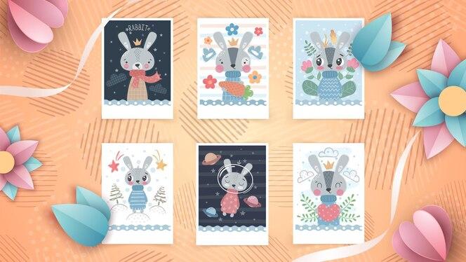 인사말 카드에 대한 귀여운 동물 아이디어 설정