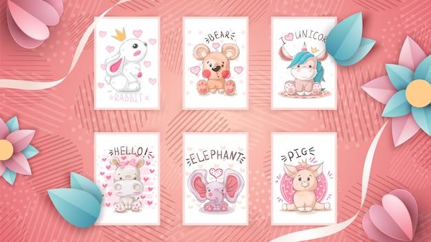 Set cute animal- idea for greeting card