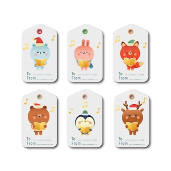 Set of cute animal illustration tags or labels cartoon style