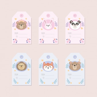 Set of cute animal labels decoration