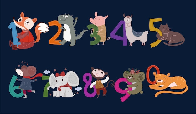 Set of cute animal numerals illustration