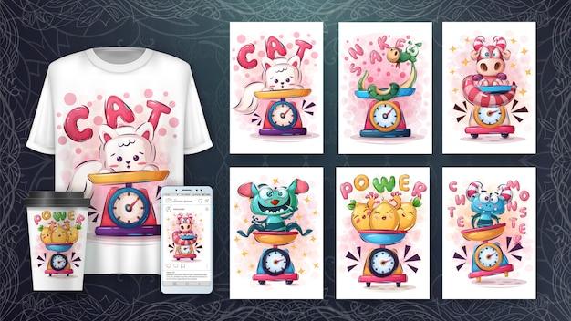 귀여운 동물 포스터 및 상품화 설정