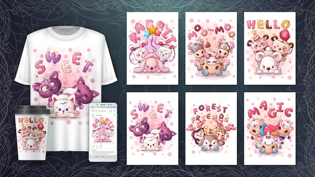 Set cute animal poster and merchandising