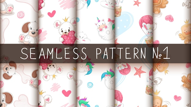 Set cute animal - seamles pattern