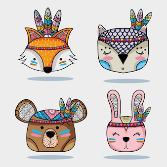 Set cute animal tribal in the forest