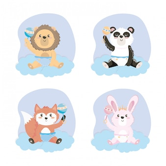 Set of cute animal with rattles and diaper