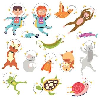 Set cute animals astronauts children in space