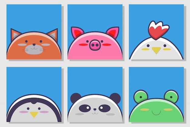 Set of cute animals card vector illustration