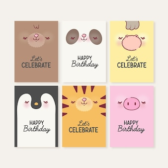 Set of cute animals cards with faces premium vector