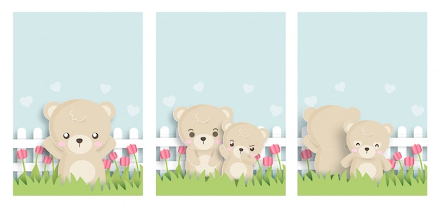 Set of cute animals cards with teddy bear  in paper cut style.