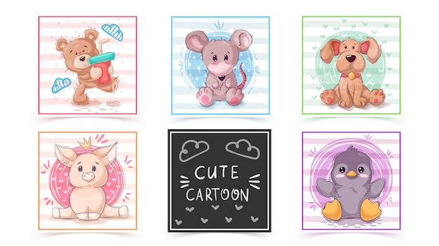 Set cute animals in cards