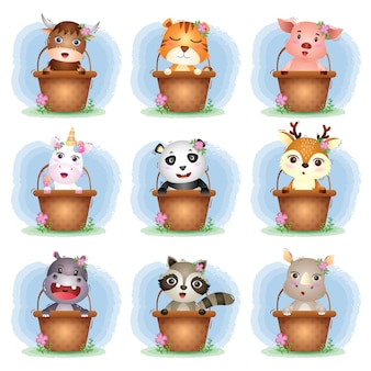 Set of cute animals cartoon in basket, the character of cute pig, yak, tiger, unicorn, rhino, raccoon, hippo, panda and deer