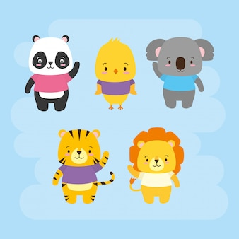 Set of cute animals, cartoon and flat style, illustration