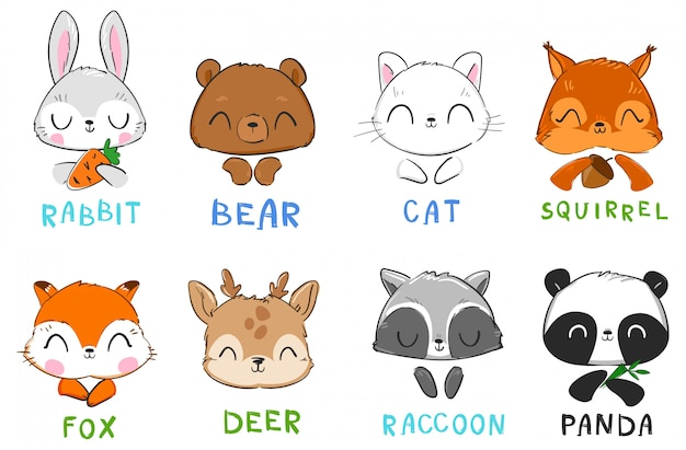 Set of cute animals cat and squirrel, panda bear, rabbit and fox, raccoon and deer  illustration.