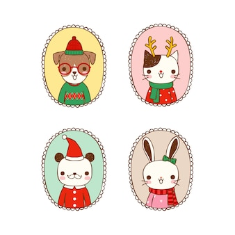 Set of cute animals in christmas costumes
