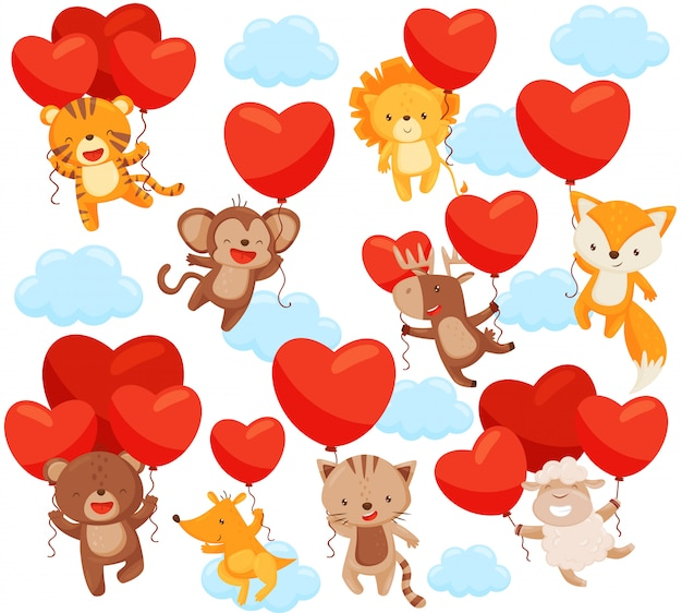 Set of cute animals flying in the sky with heart-shaped balloons. love theme.   elements for postcard