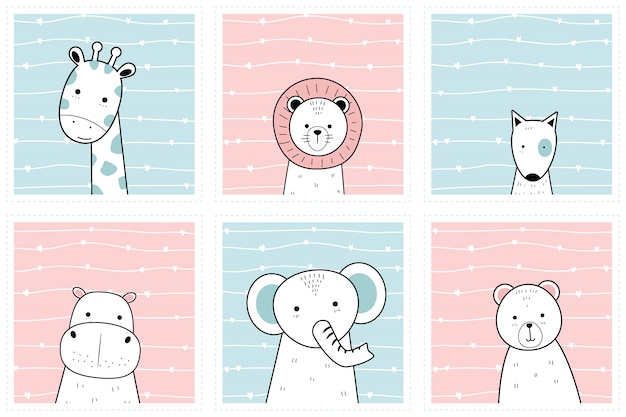 Set cute animals on frame cartoon doodle wallpaper collection