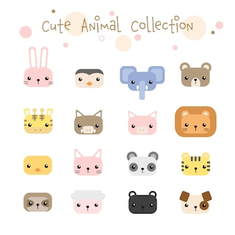 Set of cute animals head pastel cartoon collection