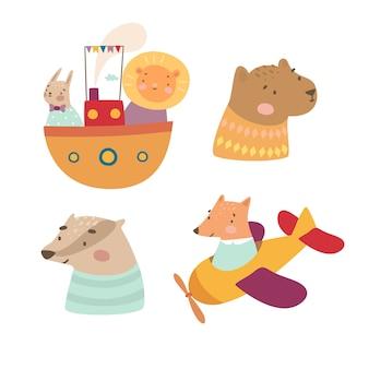 Set of cute animals illustration