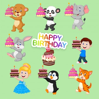 Set of cute animals and kids for happy birthday