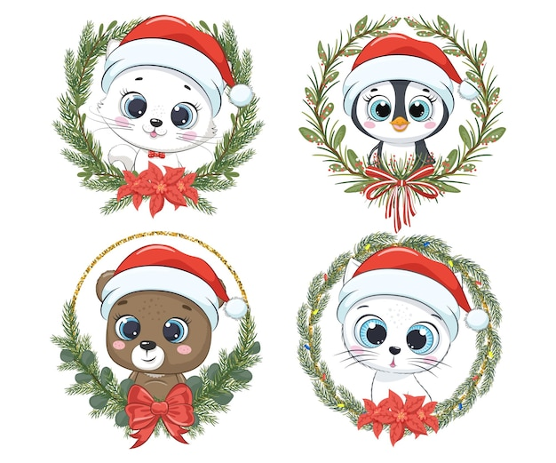 A set of cute animals for the new year and for christmas. kitten, cat, bear, penguin. vector illustration of a cartoon.