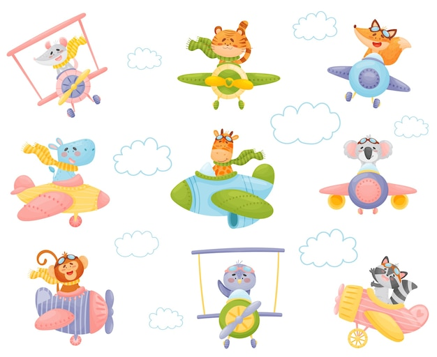 Set of cute animals pilotsn