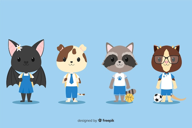 Set of cute animals ready to study