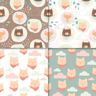 Set of cute animals seamless pattern, cartoon cute of bear and cat for kids.