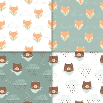 Set of cute animals seamless pattern, cartoon cute of bear and fox for kids.